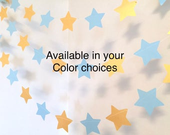 Twinkle twinkle Little Star Birthday Decorations - Blue & Gold Baby shower Decor - Little Prince Banner - 10 foot Garland - Custom colors