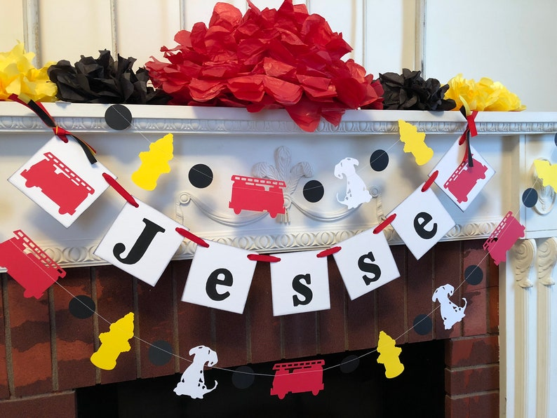 your color choice Firetruck 1st birthday garland Firefighter Baby shower decorations Dalmatian birthday Garland -Puppy birthday decor