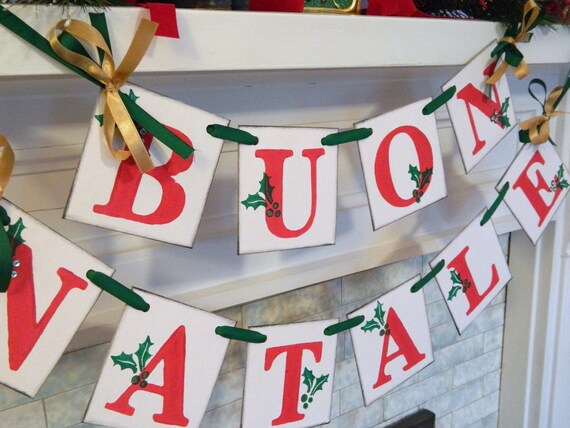 Buon Natale 4x4.Buon Natale Banner Red Green Gold Italian Christmas Garland