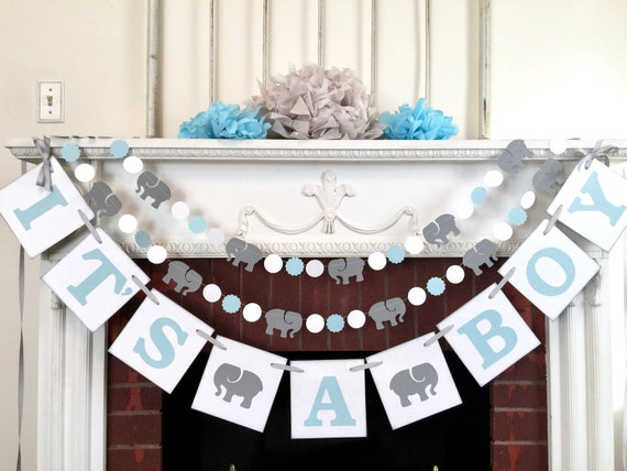 Elephant Baby Shower Decorations It S A Boy Banner Blue Gray