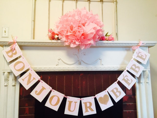 Bonjour Bebe Banner Parisian Baby Shower Decor French Baby Etsy