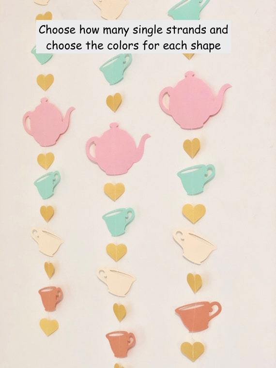 Tea Party Garland Tea Party Birthday Decorations Tea Cup Garland Bridal Tea Shower Decoration Tea for TWO Birthday Banner