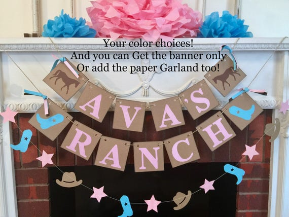 Personalized Cowgirl Cowboy Birthday Decorations