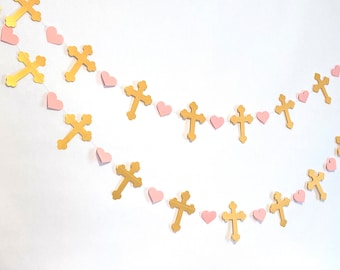 Christening Cross Garland - Gold & pink Baptism decorations - First Communion Garland - Baby Dedication Decor - Your Color choice