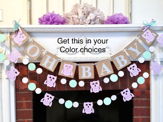 Owl Baby Shower Decor Purple And Gray Baby Shower Decorations Oh