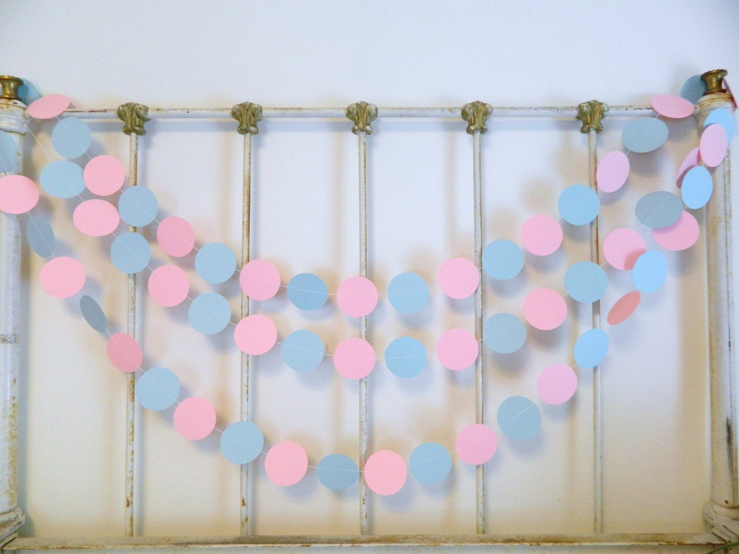 Gender Reveal Baby Shower Decorations 10 Foot Pink Or Blue We Love You Paper Garland Pink And Blue Baby Shower Decor Twins Decoration