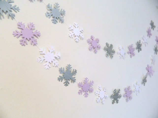Winter ONEderland Party Decor - 6ft Silver purple and white Snowflake Garland , Baby Shower Decor, Paper Snowflakes