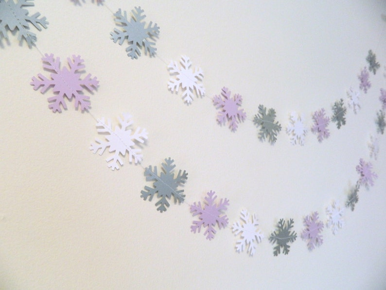 Winter ONEderland Party Decor Winter First Birthday Girl Little Snowflake Baby Shower Decor Silver purple and white Snowflake Garland