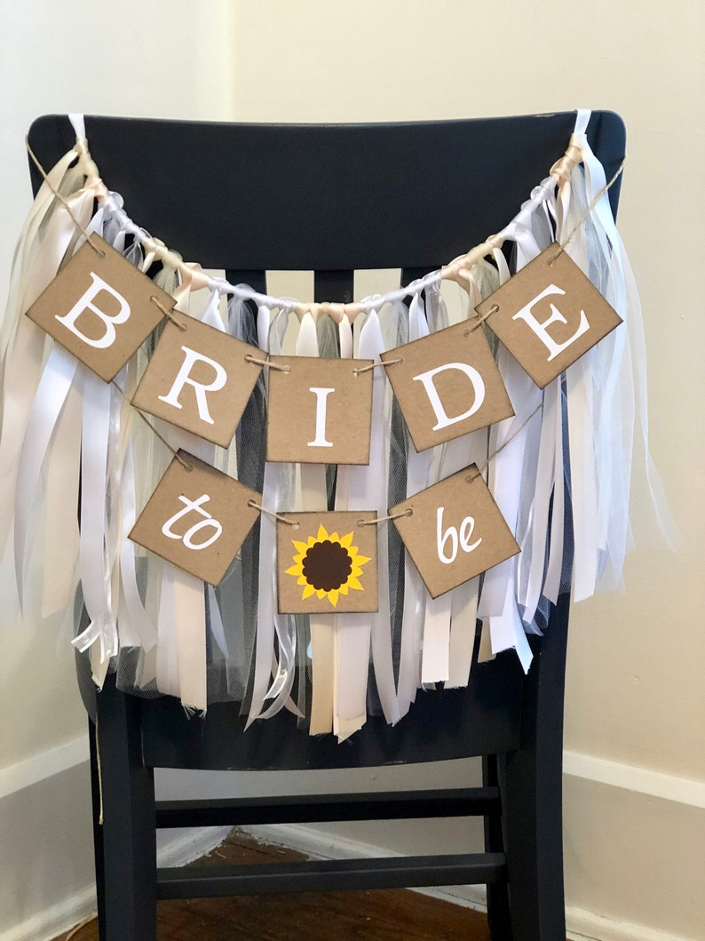 Bridal Shower Chair Skirt Bride to Be Chair Cover- Sunflower Bride to Be banner Bridal shower Tutu Sunflower Bride to Be Chair Banner