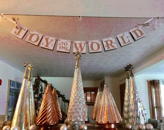 Christmas Decorations-  JOY to the WORLD Banner - Gold and Silver Christmas Garland - Christmas Banner -Holiday Family Photo Prop