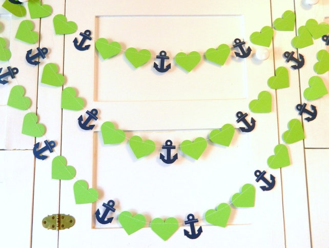 Nautical Bridal Shower Decor / 10ft Anchors and Heart Paper Garland / Green and Navy Anchors / Nautical Wedding Decor / Your color choice