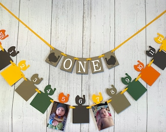Little Turkey First Birthday Decor, I am 1 ONE High Chair Banner, Thanksgiving 12 Month Photo Banner, Thanksgiving 1st Year Photos , Hunting