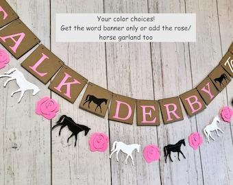 Derby Bridal Shower Decor, Kentucky Horse banner, Horse Race Party Decorations, Derby Bachelorette Party Backdrop , Bridal Shower