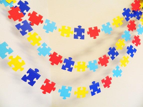Puzzle Piece Garland Missing Piece Adoption Decoration Autism