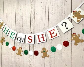 Gingerbread Gender Reveal Banner -Christmas Gender Reveal Banner- Gingerbread Baby Shower Decor- Christmas Baby Shower Banner- Boy or Girl