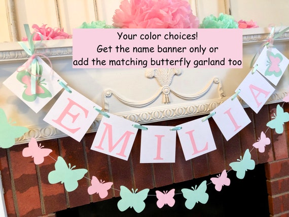 Butterfly Birthday Butterfly party Custom Butterfly Banner Name Banner One Banner Butterfly Baby Shower Butterfly 1st Birthday
