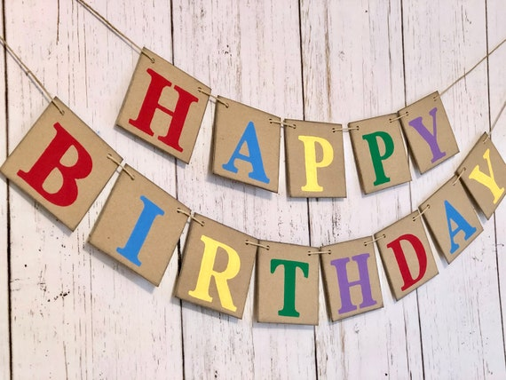 Happy Birthday Burlap Banner Custom Birthday Banner with Name Rustic Birthday Decorations Personalized Happy Birthday Burlap Bunting
