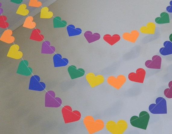 Rainbow Heart Decorations / Wedding Decor / Kids Birthday Decor / Rainbow Party Decor/ Rainbow Birthday Girls  You color and size choice