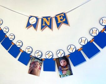 Rookie of the Year First Birthday Decorations- Baseball 12 month photo banner- 1st Year Photo Banner- My Rookie Year 1 ONE High Chair Banner