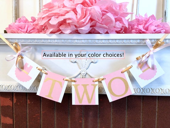 Tutu Cute 2nd Birthday Decorations Two High Chair Banner Ballerina Pink Decor