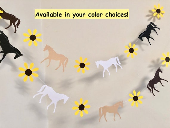 Horse Banner Horse Race Party Decorations Cowgirl Birthday Decorations Black Eyed Susan Baby Shower Decorations Saddle Up Party