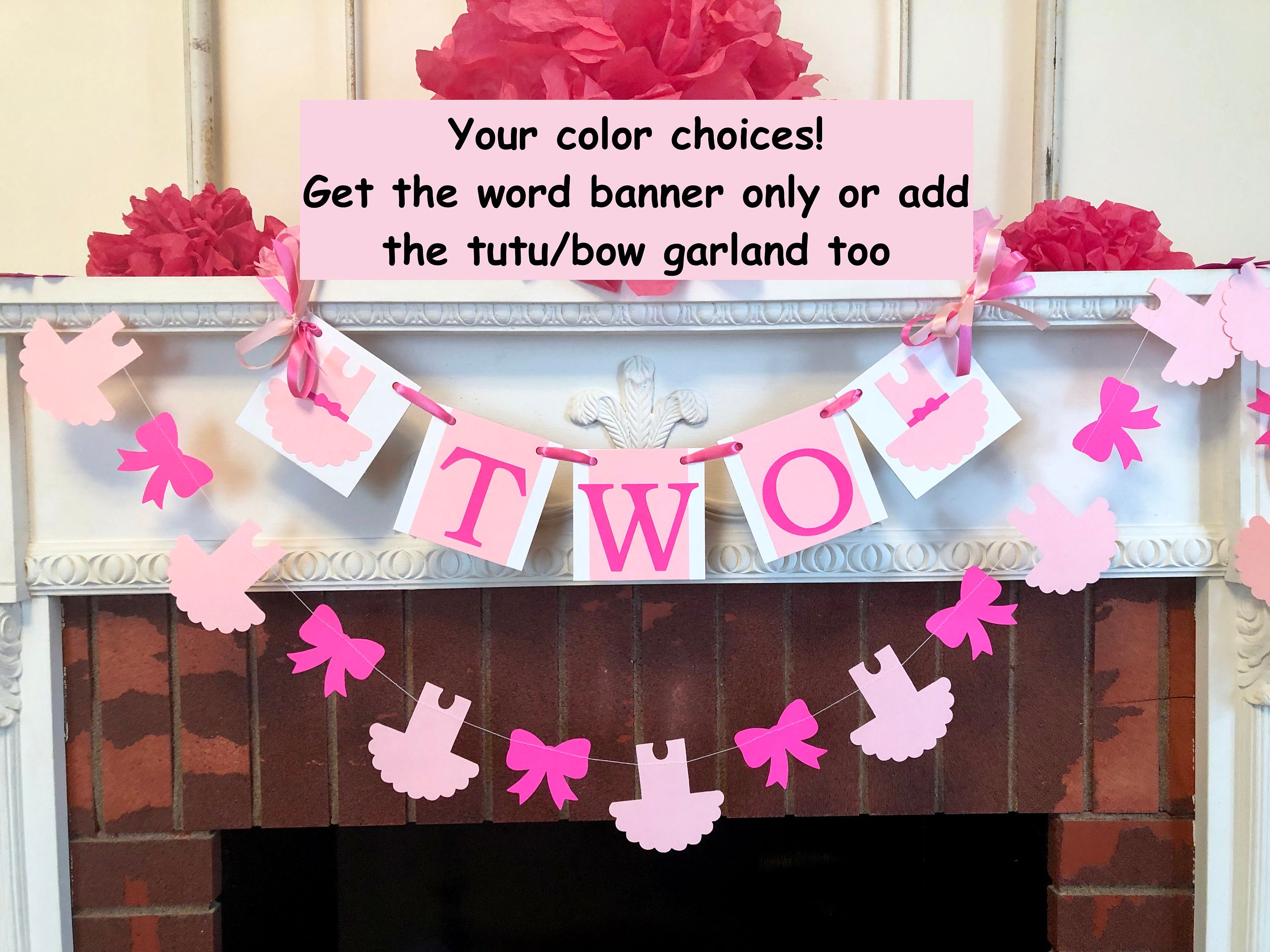 Tutu Cute 2nd Birthday Decorations Two High Chair Banner Ballerina 2nd Birthday Decorations Pink Tutu Decorations 2nd Birthday Decor