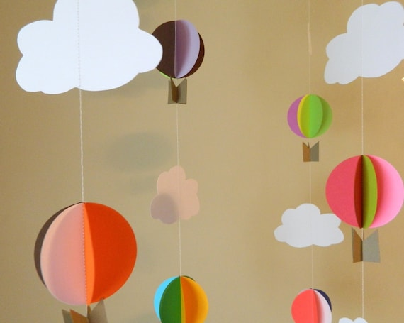 Oh The Places Youll Go Birthday Decorations Hot Air Balloon 3D Paper Balloons DIY Nursery Mobile Your Color Choices