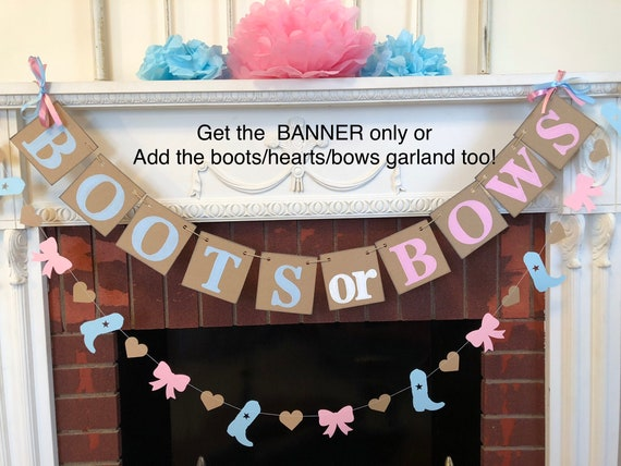 Boots Or Bows Gender Reveal Decorations Boy Or Girl Western Baby