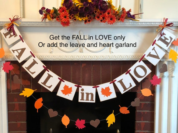 FALL IN LOVE Banner, Wedding Decor, Autumn Wedding Banners , Bridal ...