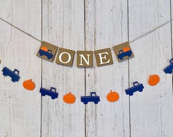 Blue Truck First Birthday Decorations - Pumpkin truck Banner- Navy blue truck garland - ONE High Chair Banner - Fall first Year Photos Prop