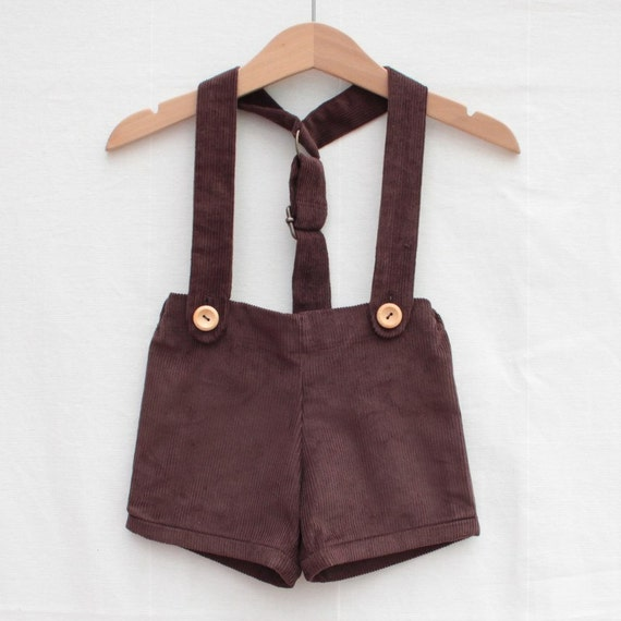 Baby retro short with braces | Brown cord