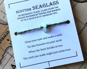 Seaglass, Scottish seaglass , mermaids tears Wish bracelet, white seaglass, linen charm bracelet, make a wish bracelet, lucky charm bracelet