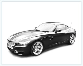 Custom Car Portrait - Sketch From Photo - Classic Car Portrait - Car Drawing - Fathers Day - Gift For Him - 5 x 7 Print
