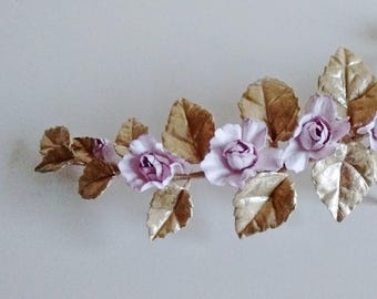 Bridal headpiece - pink mauve roses and gold leaves haircomb, porcelain and mulberry flowers, floral barrette pastel flower hair accessory