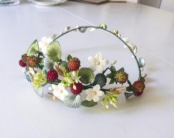 Bridal headpiece - Strawberries tiara , wedding crown, strawberries and flowers wreath, floral headpiece, country rustic wedding
