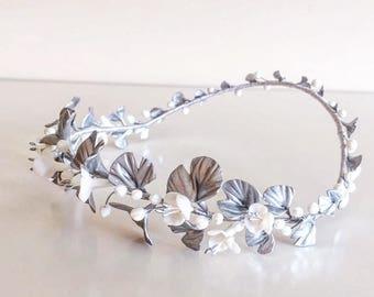 Bridal headpiece - silver ginkgo Biloba tiara , wedding crown,bridal head piece, ginkgo leaves and cherry blossom flowers wreath