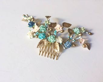 Bridal headpiece - roses and leaves haircomb, porcelain and mulberry flowers headpiece, floral barrette pastel flower hair accessorie