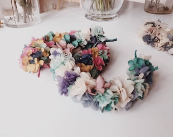 Floral headband - hydrangea flower crown, preserved flowers headpiece,  pastel flower hair accessorie, lilac, pink, lavender
