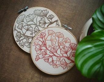 Embroidery Hoop Art Pattern ø Wall Art ø Home Decor ø Ginko Branch ø Hand Embroidered ø LoftFullOfGoodies ø Housewarming Gift