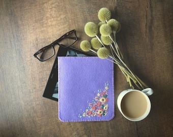 Hand Embroidered Wool Felt iPad Kindle Kobo e-Reader Sleeve Cover by LoftFullOfGoodies