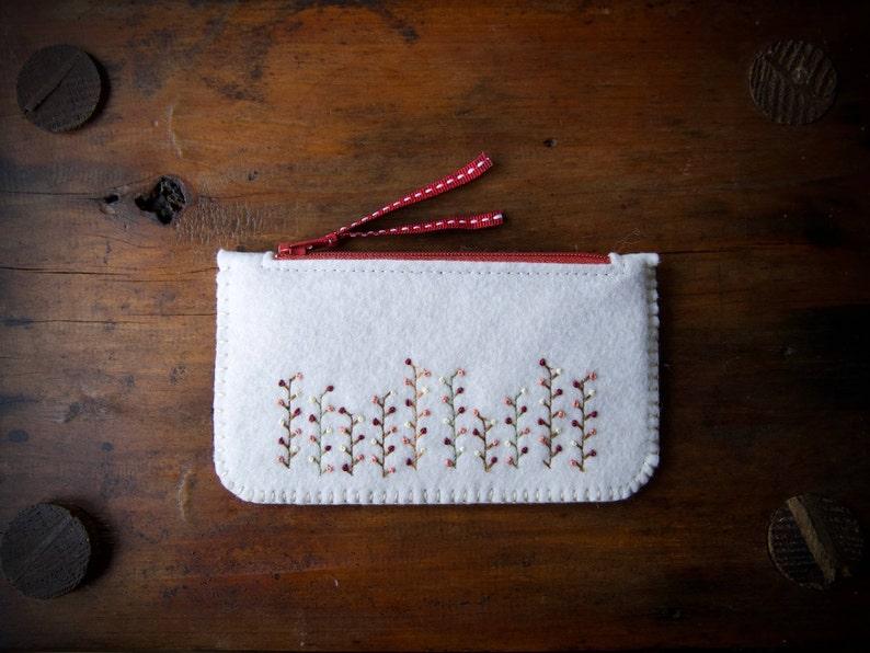 Wool Felt Coin Purse Wallet ø Small MakeUp Bag ø Autumn Garden image 0