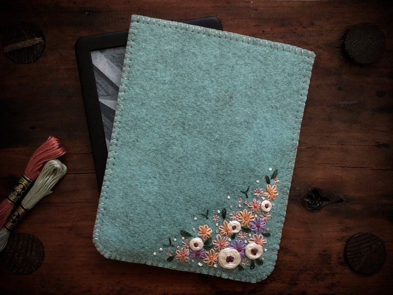 Hand Embroidered Wool Felt Kindle Sleeve Cover by image 0