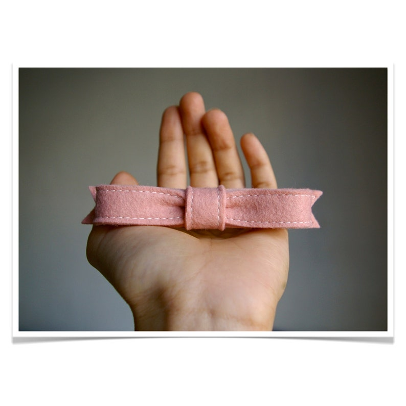 Wool Felt Hair Bow Barrette ø Blush ø LoftFullOfGoodies ø image 0