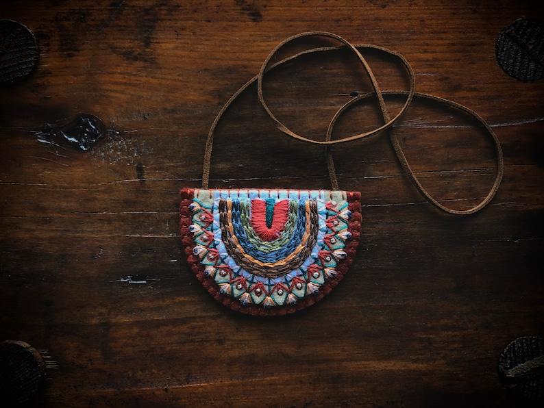 Wool Felt Statement Necklace ø Tribal Geometric Hand image 0