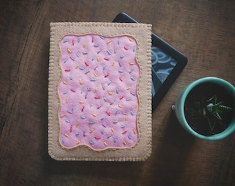 Pop Tart Hand Embroidered Wool Felt iPad Kindle Kobo e-Reader Sleeve Cover by LoftFullOfGoodies