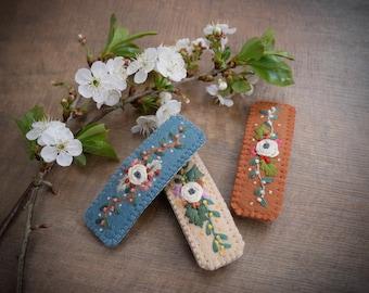 Wool Felt French Barrette ø Hand Embroidered ø LoftFullOfGoodies
