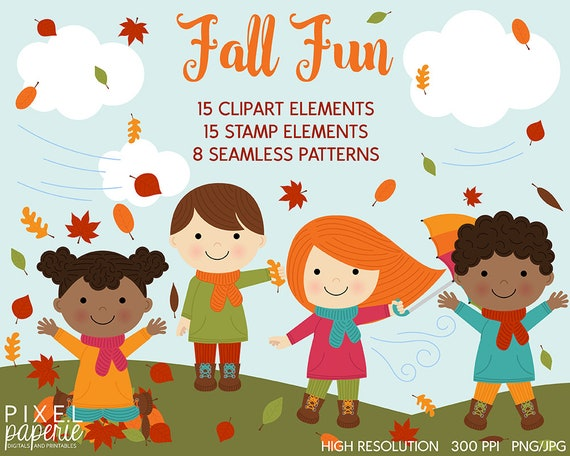 Fall Clipart Autumn Kids Clip Art Leaves Stamps Papers Etsy