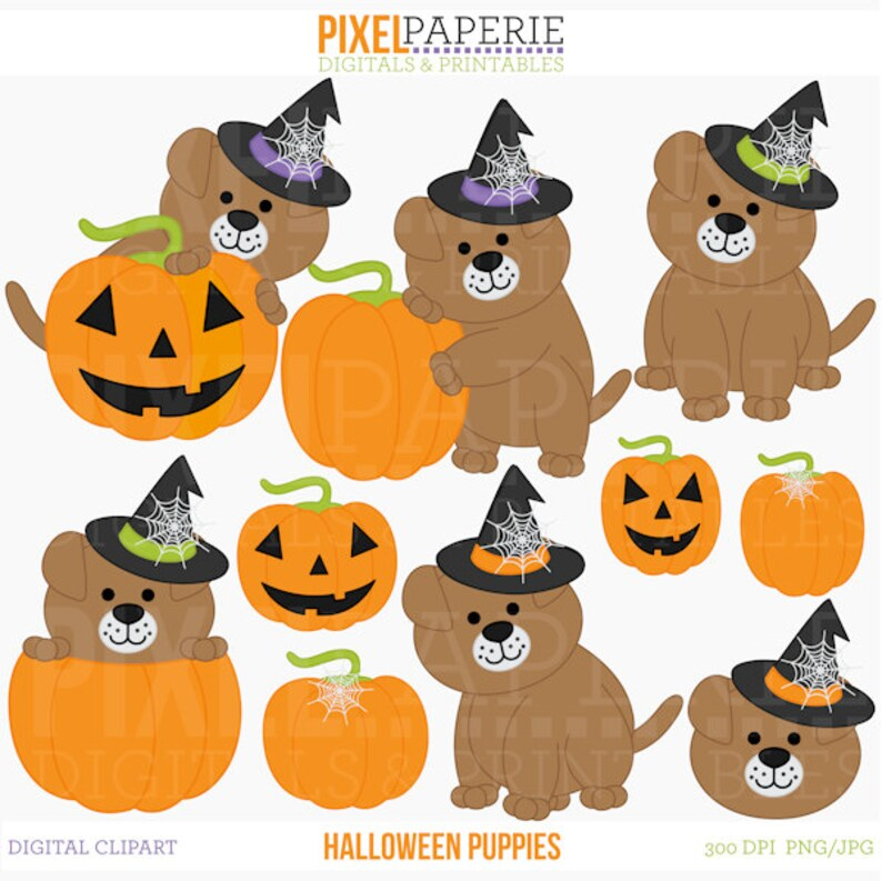 Halloween Puppy Clipart Clip Art Puppies Halloween Puppies Etsy