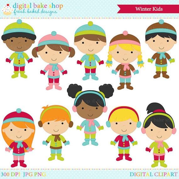 winter clipart digital clip art Winter Kids Digital Clip ...