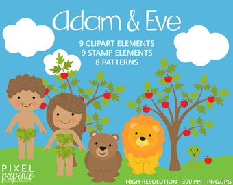 bible characters clipart clip art christian religious - Adam and Eve Digital Clipart Stamps Papers